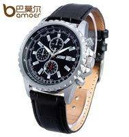 2014 New 30M Waterproof Men's Quartz Leather Strap Business Watch Hour Men Auto Date Display Casual Dress Sports Watches
