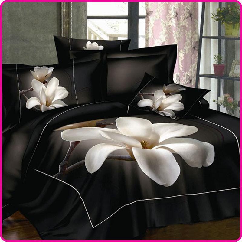 Preto Lençol Branco Mangnolia Flor 100 Algodão Jogo de Cama King Size Rainha bedcloth 3D conjunto de cama de luxo edredão / Conjuntos colcha(China (Mainland))