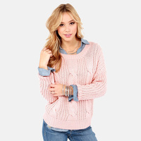 Charm 2014 Autumn Pink Thick Preppy Style Casual Classic O-neck Long-sleeve Female Sweater haoduoyi XS,S,M,L,XL,XXLSC-083