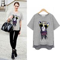 (WTT005) 2014 O-neck Plus Size Cute Cartoon 100% Cotton Short-sleeve T-shirt Female Loose Clothing