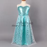 Retailer 2014 frozen elsa  dress Custom made Movie Cosplay Dress  girl party dress Frozen  Elsa Costume for ChildrenGD40722-3