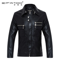 2014 New Arrival men's leather jacket double layer collar leather jacket motorcycle coat men clothing PU