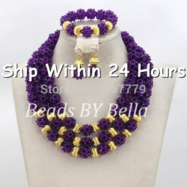 Latest Purple African Beads Jewelry Set Best Selling Nigerian Wedding Crystal Jewelry Set Free Shipping ABJ686