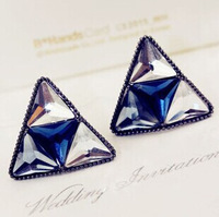 B374 Noble fashion Crystal material Perfect process triangle Stud earrings for women