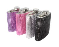 2014 Hot Free shipping(6pcs/lot) wholesale Fashion 6oz stainless steel crystal flask