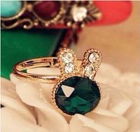 ashion accessories sea blue full rhinestone gem rhinestone exquisite rabbit ring opening 6pcs/lot Free Shipping