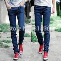 2014 Fashion High Quality Men's Skinny Jeans Mens Black Blue Slim Fit Trousers Men Pants Free Shipping