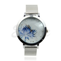C181pc Fashion Women Lady Blue Lotus Rhinestone Stainless Steel Mesh Quartz Wrist Watch
