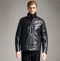 2014 free shipping genuine leather coat sheepskin men's coat winter with zipper
