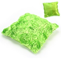 Green Color Square Cushion Cover With Flower For Car Seat Home Decorative