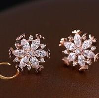 B375 Fashion classic snow Zircon Stud earrings new 2014 Women jewelry