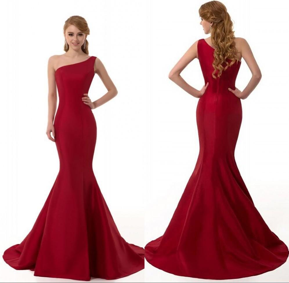 Evening ball party dress long elegant mermaid red prom dresses 2015