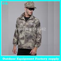 Dropshipping 2014 Men Sports Light Jacket Anti-UV Breathable Hoodies Pockets Windbreaker Summer Camouflage outdoor light jacket