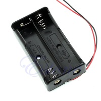 "C181pc New Plastic Storage Box Case Holder Black For 2pcs  Battery 18650 With 6"" Wire Leads"