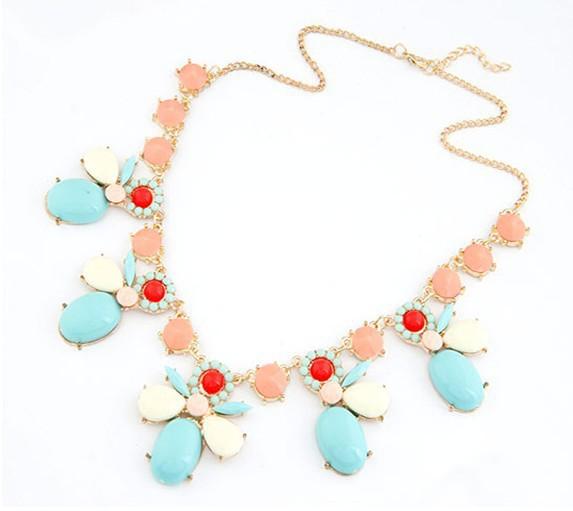 SALE Joker Bubble Bib Statement Choker Necklace Graceful Mix Bee Shape Resin Gem Stone Necklace Women Wedding Jewelry Wholesale(China (Mainland))