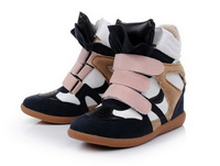 2014 New Fashion  Women's Velcro Strap High-TOP Sneakers Shoes Boots Block Color Height Increasing Sneakers