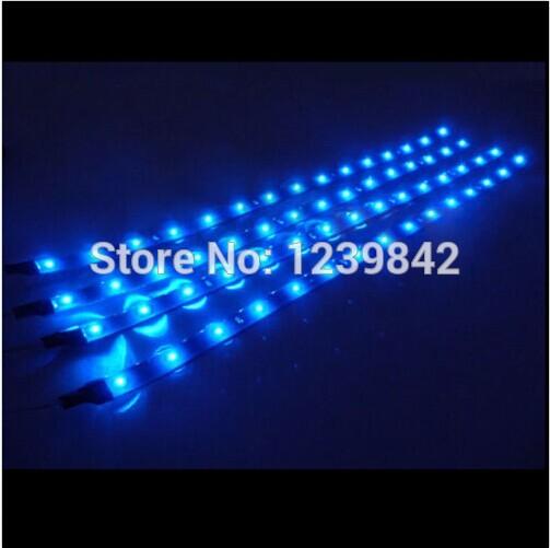 20 X 30cm Blue 15 LED Car Motor Grill Flexible Waterproof Light Strips DC 12V Free Shipping(China (Mainland))