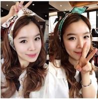 Free shipping + + + BEA Korean hair accessories cloth art love leopard plover rabbit ear hair ribbon wire grid