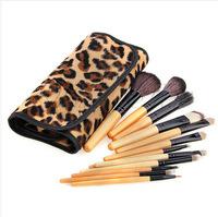 2014 HOT !! Professional 12 pcs Makeup Brush Set tools Make-up Toiletry Kit Wool Brand Make Up Brush Set Case free shipping