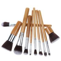 Natural Bamboo Handles Super Soft Make up Brushes Bristles Eco-friendly 10 pcs Makeup Brush Set