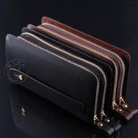 2014 new arrival hot selling dual zip closed man's fashion wallet purse men wallet clutch free shipping