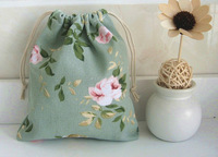 5pcs/lot Linen Handcraft fabric Shabby Chic Green Floral  small storage bag Jewellery Gift Cosmetic Bag drew string