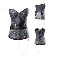 2014 New arrival  Women intimates lady shaper sexy lingerie sex  satin   corset  size S-2XL  2979 black