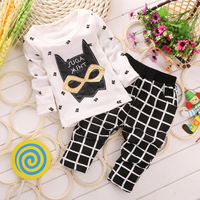 In stock 2014 New arrival! children clothing set kid child's cartoon cotton t-shirt plus grid trousers Little Spring GTJ-T0201
