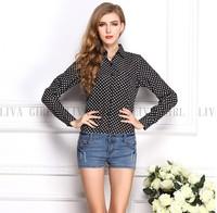 2014 Autumn Women's Vintage Polka Dot Printing Chiffon Long-sleeve Plus Size Blouse Casual Black Shirts,Free Shipping