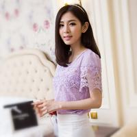 2014 pearl laciness short-sleeve T-shirt female chiffon shirt plus size s-xl 200g