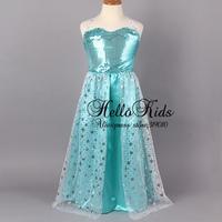 2014 Newest Frozen Party Dresses Girls Queen Elsa Anna Princess Dress Kids Sequin Lace Dress Christmas Children Wear In Stock