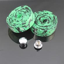 2014 1pair New Cycling Road Bike Bicycle Cork Handlebar Wrap Tape Green + 2 Bar Plugs