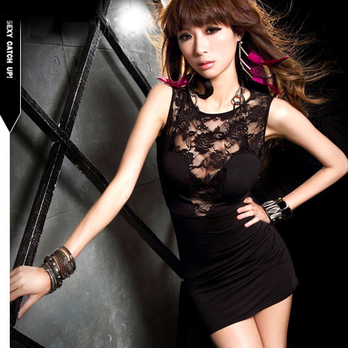 Women's 2014 Spring OL Elegant Sexy Slim Hip lace Basic One-piece Dress Black Hollow Out Lace Mini Vest Dress Summer Hot Sale(China (Mainland))
