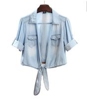 2014 summer new women's brand denim shirt short-sleeved jeans shirt fashion slim fitness casual shirt for women