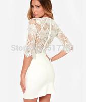 Free shipping ! Delicate eyelash lace stitching ladies sexy dress / backless dress back zipper