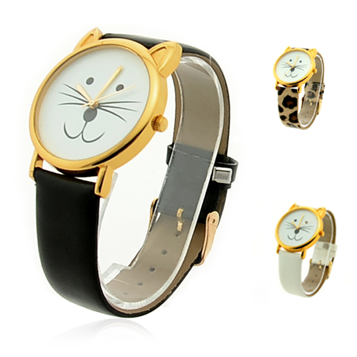 Hot Sale!!Women's Cat Beard Synthetic Leather Strap Quartz Watches Bracelet Wrist Watch For Gift 3 Colors #4 18540(China (Mainland))
