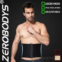 10pcs ZEROBODYS Incredible 23cm High 3 Row Hook Eye Closure Waist Cincher 374 BK Slimming Belt Men Waistband Men Shapers