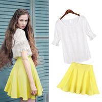 2014 summer short-sleeve chiffon shirt short skirt twinset set one-piece dress fashion one-piece dress