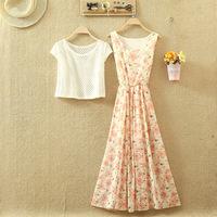 2014 summer bohemia beach vest floral print full dress fancy twinset chiffon one-piece dress