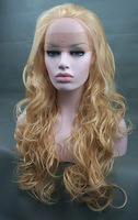 Stunning LACE FRONT Wig Long Curly Honey Blonde Mix free shipping