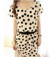 2014 summer lena women's fashion one-piece dress short-sleeve polka dot geometric figure chiffon skirt