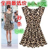 2014 leopard print Hot Sale Spring Summer Women's Beach Dress  sleeveless one-piece dress Maxi Dress Free Shipping 1pcs/lot
