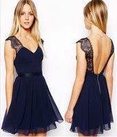 Summer casual wear sexy lace lacing chiffon one-piece dress sleeveless racerback