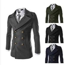 014 winter new British Fashion slim metrosexual man essential double collar badges British fashion Trench coat free shipping(China (Mainland))