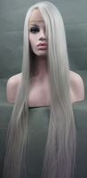 Stunning LONG Silk Silver Lace Front Wig free shipping