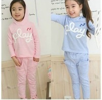 2014 autumn New arrival girl's clothing set kids' bow cotton t-shirt plus trousers Little Spring GTJ-T0197