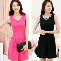 Free & DropshippingElegant Korean Women V Neck Vest Dress Girl's Slim Waist Sleeveless Dress Summer