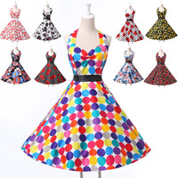 New Free Shipping! Grace Karin AL09 9 Colors Short Cotton 50s Print Women Vintage Dresses CL6075
