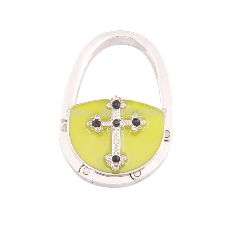 Free shipping! 2014 hot yellow cross pattern luminous bag hook foldable purse hanger tables purse handbag hook with rhinestone(China (Mainland))