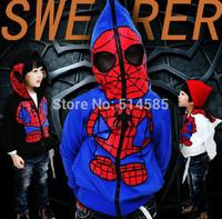 2014  child sweatshirt cartoon male child outerwear Spider man Coat For Boys Jacket Spiderman Outerwear Kids hoodies